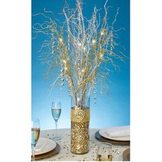 Darice-LED Lighted Gold Branch Spray: Battery Operated. Add these pieces to your centerpiece designs to create amazing table arrangements and room decor all in one. The illuminated branches add height