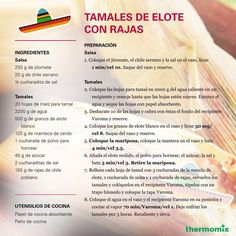 La Receta de Tamales de Elote con Rajas #Thermomix Winter Dishes, Mexico Food, Mexican Food Recipes, Yummy Food, Yummy Recipes, Veggies, Foods, Christmas Drinks Alcohol, Deserts