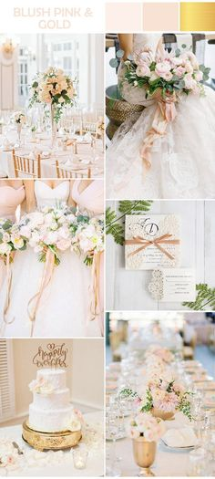 elegant blush pink and gold formal wedding colors