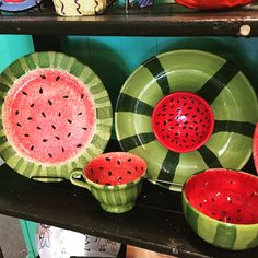 Watermelon Pottery / Paint Your Own Pottery / Kiln Creations, Noblesville, Indiana.  www.kilncreations.net