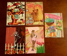 Trash swap, used 3 items on each card from the envelope of paper string and more I received! ATCs by Kae.Ryan, Tim Burton, Garfield, Betty Grable, Valentines Cork Art, Artist Trading Cards, Draw Your, Tim Burton, Minions, Envelope, Miniatures, Valentines, Drawings