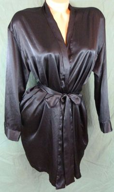 Victorias Secret Black Short Robe Soft Silky Satin One Size Attached Belt  Lounge c0755f2a4