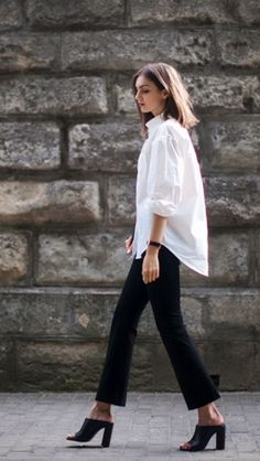 Oversized white blouse with mules - love!