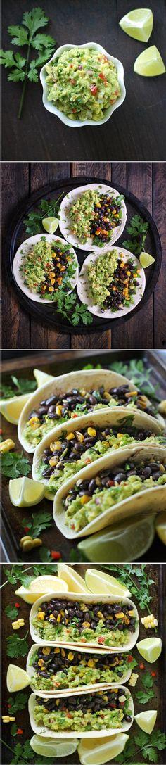 LOADED GUACAMOLE VEGETARIAN TACOS - healthy, vegetarian