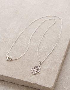 01ea6c7a88 Delicate Hamsa Blessing Necklace Fair Trade Jewelry