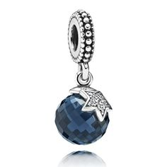 PANDORA Moon and Star dangle charm, in sterling silver, with midnight blue and clear cubic zirconia gemstones.<br> <br> <strong>Style #: </strong>791392NBC