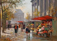 Flower Seller at La Madeleine    Artist: Edouard Cortes