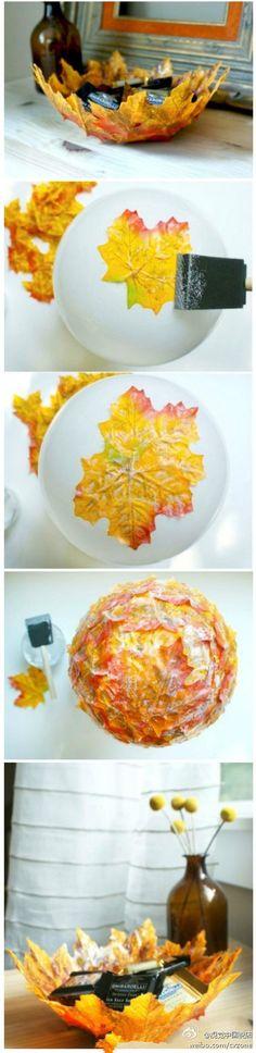 DIY秋叶果盘】深秋,还是初冬?厚厚的落叶总是侵占着我们的记忆。Fall Crafts for Kids, Free Leaf Crafts for Kids Ideas, Patterns, Tutorial Making an Autumn Leaf Bowl