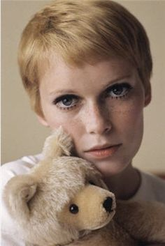 Mia Farrow with Steiff teddy                                                                                                                                                                                 More