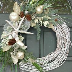 Christmas Beachy Wreath Glittery Silver Starfish via Etsy