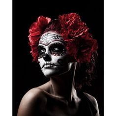 17 Amazing Día de los Muertos Sugar Skull Make-up Art ❤ liked on Polyvore featuring makeup, backgrounds, models, halloween and people