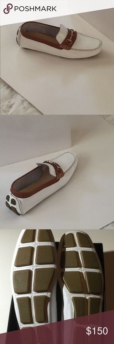 Cole Haan loafer Cole Haan in casual chic. White patent loafer with camel trim and embellished heel. Never worn. Dust bag included. Perfect addition to your classic wardrobe. Buy today. Enjoy for years! Cole Haan Shoes Flats & Loafers