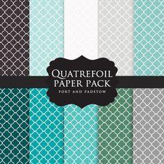 Quatrefoil scrapbook digital paper - quatrefoil, four leaves, decorative framework, blue, green, gray, black, teal, ocean colors