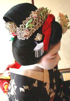 Maiko Geisha, Senior Maiko with Katsuyama Hairstyle worn during Gion Matsuri Festival Time