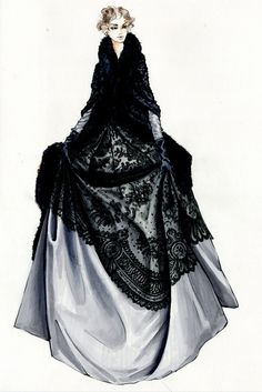 "Jacqueline Durran's sketch of one of Keira Knightley's outfits in ""Anna Karenina"" (2012)"