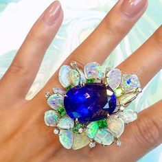 #repost @vtsejewelry It may be #Monday but cure your #Mondayblues with this month's #birthstone of #sapphire! Talk about a #statementring!  #VtseJewelry #finejewelry #ring #rings #ringparty #ringsofinstagram #opal #boulderopal #australianopal #bigrings #gem #gems #gemstones #diamond #diamonds #gold #finejewellery #flower #flowerjewelty #blooms