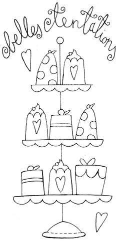 belles tentations, cakes, outline embroidery