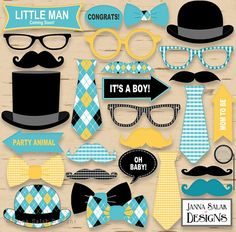 Printable Little Man Photo Booth Props Baby Shower Black