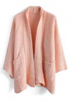 Cozy Waffle Knit Cardigan in Pink - Retro, Indie and Unique Fashion