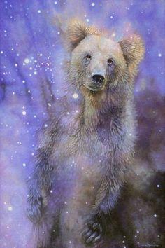 Grizzly bear totem esprit animal chaman wall art par Leslie Macon