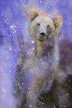 Grizzly bear totem spirit animal shaman wall art by Leslie Macon