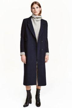 Пальто из смесовой шерсти - Темно-синий/Полоска - Женщины   H&M RU 1