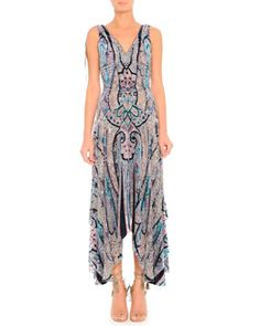 B2VD5 Etro Silky Devore V-Neck Dress with Ruched Waist