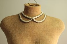 peter pan collar necklace with crochet rope and brass chain. $60.00, via Etsy.