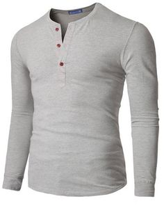 Doublju Mens Sleeve Slim Fit, Henley Shirts.
