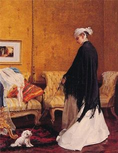 """Eduardo Tofano, 1838-1920 painted this funny painting fo a little Maltese which does not want to go out, lol! The title tells us so too:""""But I want to stay""""  It makes us wonder looking at it from the present, who won in the end???? Maltese do know so very well what they want, lol!"""