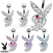 PBNC003 Multi Colored Gems on Playboy Bunny 316L Surgical Steel Navel Ring