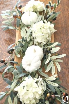 Fall Simple neutral fall DIY centerpiece using a vintage rustic dough bowl, hydrangeas, olive branches and milk paint pumpkins. Perfect farmhouse floral arrangement for Thanksgiving. Great ideas for autumn. Fall Table Centerpieces, Thanksgiving Centerpieces, Decoration Table, Harvest Table Decorations, Thanksgiving Table Decor, Fall Decorations Diy, Thanksgiving Wedding, Autumn Table, House Decorations