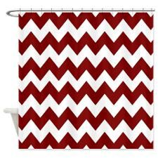 Maroon and White Chevron Shower Curtain
