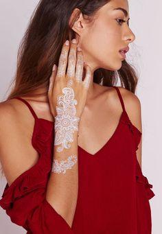 $16 White Henna Hand Tattoo - Accessories - Missguided