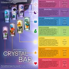 "Welcome to the healthiest happy hour around! No matter what your mind, body and soul are in need of today, we have a ""crystal elixir"" of healing stones to help! #crystals"
