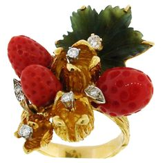 Very whimsical... just had to pin it! HENRY DUNAY Coral, Jade & Yellow Gold Wild Strawberry Ring