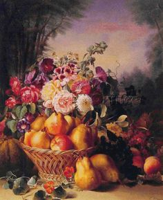 Scarlet Quince cross stitch chart: Still Life of Flowers and Fruits I - Eugene-Adolphe Chevalier