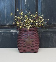 Primitive Basket with Country Kitchen Pip Berries by Designawreath, $19.95