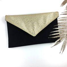 c5f2768af8f4c Sac Pochette de soirée mariage noire en suédine et simili cuir Atelier,  Pochette De Soirée