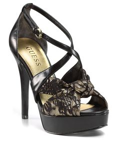 985f84da12f GUESS  Karune  Black Synthetic  n Lace Strappy Open-toe High ...