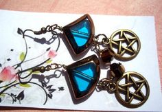 Pentacle Blue Glass Earrings Sparkling Bronze Retro Vintage Inspired Pagan Wicca