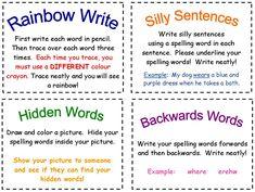 Fun spelling activities - Spelling activities to reinforce weekly spelling words.