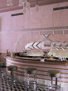 Deco Period Bar Area, Usha Kiran Palace Hotel, Gwalior, Madhya Pradesh State…