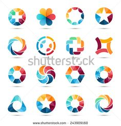 Logo templates set. Abstract circle creative signs and symbols. Circles, plus signs, stars, triangle, hexagons and other design elements. - stock vector
