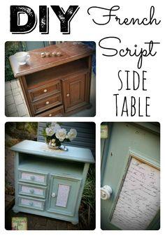 DIY French Script Side Table   www.raggedy-bits.com