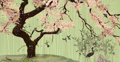 ZOO: behang 'bloesem' afmetingen 5m x 2.6m / wallpaper 'blossom' size 5m x 2.6m
