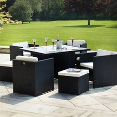 cape town black rattan cube dining set with cream cushions & footstools