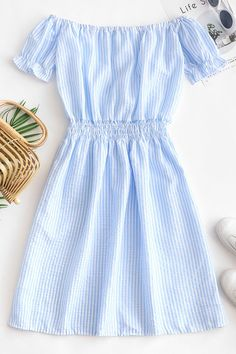 Stripes Off Shoulder Seersucker Mini Dress - Day Sky Blue Cute Summer Outfits, Pretty Outfits, Stylish Outfits, Cute Outfits, Simple Dresses, Casual Dresses For Women, Cute Dresses, Clothes For Women, Girl Outfits