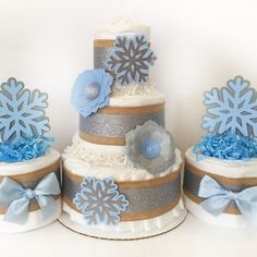 Charming Winter Wonderland Baby Shower Centerpiece Set, Set Of Three Baby Shower  Diaper Cakes In Blue