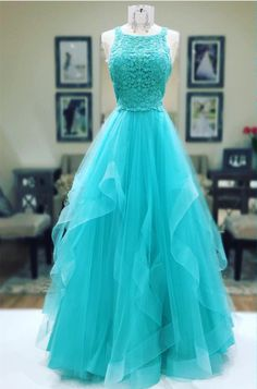 Turquoise Prom Dress,Ball Gowns Prom Dress,lace dress,long party dress